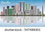 brasilia skyline with gray... | Shutterstock .eps vector #547488301