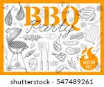 set bbq party. barbecue... | Shutterstock .eps vector #547489261
