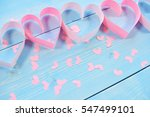 Pink Hearts On Blue Background