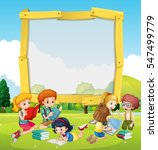 border template with kids... | Shutterstock .eps vector #547499779