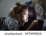 teenage girl looks on her... | Shutterstock . vector #547499824