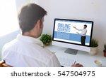 man studying online courses... | Shutterstock . vector #547504975