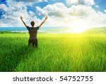 man in meadow green meadow.... | Shutterstock . vector #54752755