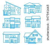 house icon set   blue line | Shutterstock .eps vector #547541665