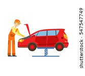 smiling mechanic looking at... | Shutterstock .eps vector #547547749