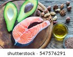 food with omega 3 fats | Shutterstock . vector #547576291