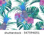 tropical flowers  pineapples ... | Shutterstock .eps vector #547594051