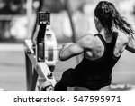 female athlete on rowing... | Shutterstock . vector #547595971