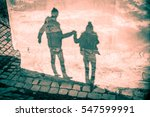 happy couple shadow silhouettes ... | Shutterstock . vector #547599991