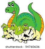 dinosaur mom with cute babies   ... | Shutterstock .eps vector #54760636