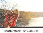 feet red sneaker a girl in... | Shutterstock . vector #547608241