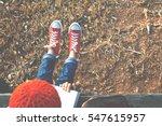 asian girl reading a book on... | Shutterstock . vector #547615957
