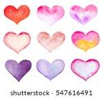 set of watercolor hearts... | Shutterstock . vector #547616491
