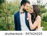 portrait of wedding couple on... | Shutterstock . vector #547624225