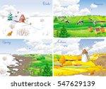 Four Seasonal Rural Landscapes...