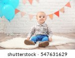Stock photo cute baby boy at birthday party 547631629