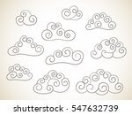 set of curled clouds chinese... | Shutterstock .eps vector #547632739