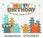 happy birthday   lovely vector... | Shutterstock .eps vector #547634635
