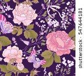 roses and butterflies. seamless ... | Shutterstock .eps vector #547644181