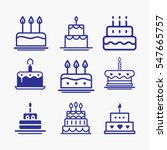 cake icon symbol set. different ... | Shutterstock .eps vector #547665757