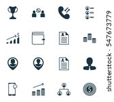 set of 16 management icons.... | Shutterstock .eps vector #547673779