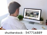 man surfing internet with