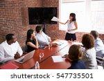 businesswoman addressing... | Shutterstock . vector #547735501