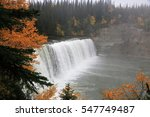 The Lady Evelyn Falls in autumn fog - Lady Evelyn Falls Territorial Park in the Northwest Territories (Canada).