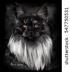 Maine Coon Watercolor Painting