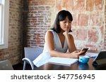 businesswoman working in... | Shutterstock . vector #547756945