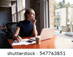 thoughtful businesswoman... | Shutterstock . vector #547763851