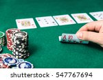 chips and cards for poker in... | Shutterstock . vector #547767694