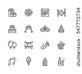 holiday vector icon set in thin ... | Shutterstock .eps vector #547772734