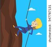 caucasian climber in action.... | Shutterstock .eps vector #547787131