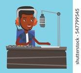 african american dj working on... | Shutterstock .eps vector #547799545