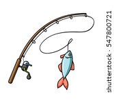 Fishing Rod And Fish Icon In...