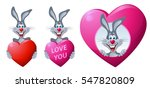 happy rabbit with a big heart....   Shutterstock .eps vector #547820809