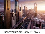 dubai skyline in sunset time ... | Shutterstock . vector #547827679