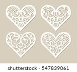 set stencil lacy hearts with... | Shutterstock .eps vector #547839061
