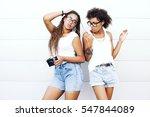 two young beautiful afro girls...   Shutterstock . vector #547844089