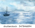 Watercolor Sea Boat And Cloudy...