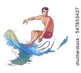 vector illustration of a surfer | Shutterstock .eps vector #547853437