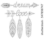 bohemian dream  love arrows set ... | Shutterstock .eps vector #547858747