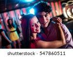 portrait of cute couple dancing ... | Shutterstock . vector #547860511