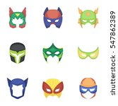 superhero mask set icons in... | Shutterstock .eps vector #547862389