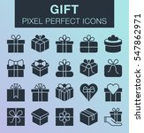 set of pixel perfect gift icons ...