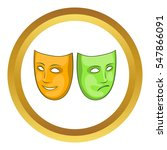 happy and sad mask  icon in... | Shutterstock . vector #547866091