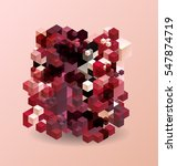 abstract cube pattern red pink... | Shutterstock .eps vector #547874719