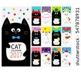 cat vertical monthly calendar... | Shutterstock .eps vector #547878931