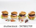 close up of mini hamburgers... | Shutterstock . vector #547881709